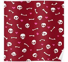 Cartoon Skulls with Hearts on Red Background Seamless Pattern Poster