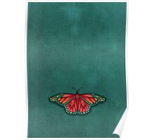 Butterfly in Jewel Colors on Teal Linen Poster