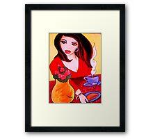 El Cafecito con Empanada/ Coffee & an Empanada Framed Print