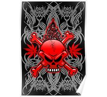 Red Fire Skull with Tribal Tattoos Poster