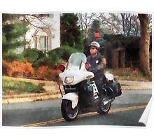 Motorcycle Cop on Patrol Poster