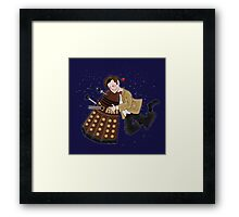 Cute Doctor And Dalek Framed Print