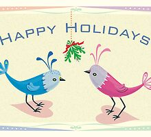 Happy Holidays - Lovebirds with Mistletoe by KenRinkel