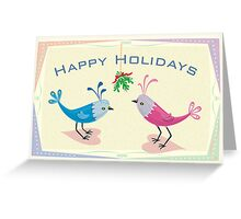 Happy Holidays - Lovebirds with Mistletoe Greeting Card