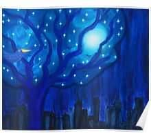 Night Tree Moon and Stars Poster