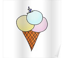 Ice-cream with skier Poster