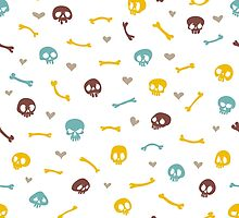 Cartoon Skulls with Hearts on White Background Seamless Pattern by Voysla