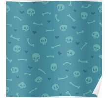 Cartoon Skulls with Hearts on Blue Background Seamless Pattern Poster
