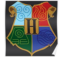Avatar Element Hogwarts Shield Poster