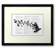 Vintage Style Print with Poem Text Edgar Alan Poe: Edgar Alan Crow Framed Print