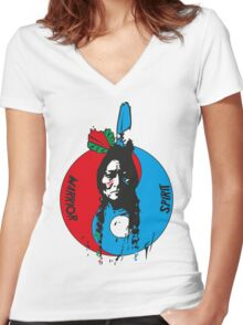 The warrior and the spirit Women's Fitted V-Neck T-Shirt
