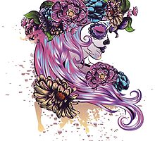 Sugar Skull Girl in Flower Crown by AnnArtshock