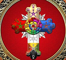 Rosy Cross - Rose Croix in Gold on Red  by Serge Averbukh