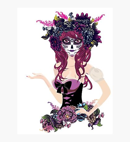 Sugar Skull Girl in Flower Crown 4 Photographic Print