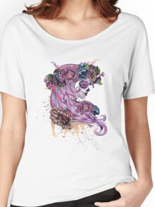 Sugar Skull Girl in Flower Crown Women's Relaxed Fit T-Shirt