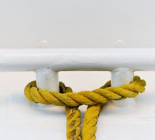 Yellow Mooring Rope on White Boat by Gerda Grice