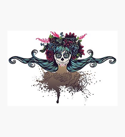 Sugar Skull Girl in Flower Crown 2 Photographic Print