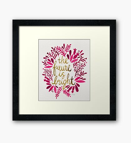 The Future is Bright – Pink & Gold Framed Print