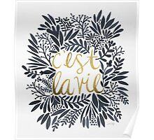C'est la Vie – Grey & Gold Poster