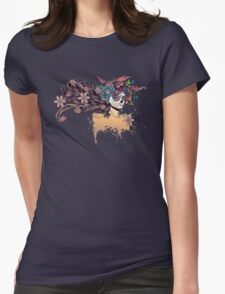 Sugar Skull Girl in Flower Crown 3 Womens Fitted T-Shirt