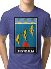 Great Barrier Reef Australia travel advertising Tri-blend T-Shirt