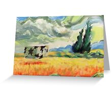 Coob in wheatfield with cypresses  Greeting Card