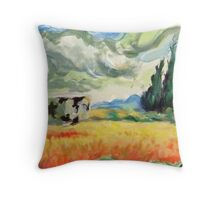 Coob in wheatfield with cypresses  Throw Pillow