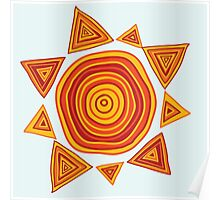 Ethnic style hand drawn print of Sun  Poster