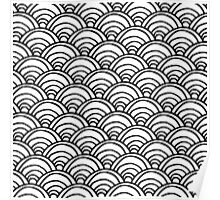 Waves All Over Black and White Poster