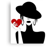 Mysterious Woman Holding A Heart Canvas Print