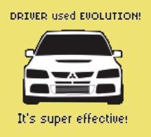 Mitsubishi Evo used Evolution It was Super Effective! Pokemon Gag Sticker / Tee - Black One Piece - Short Sleeve