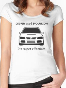 Mitsubishi Evo used Evolution It was Super Effective! Pokemon Gag Sticker / Tee - Black Women's Fitted Scoop T-Shirt