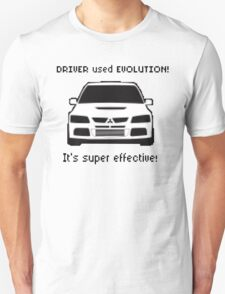 Mitsubishi Evo used Evolution It was Super Effective! Pokemon Gag Sticker / Tee - Black Unisex T-Shirt