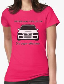 Mitsubishi Evo used Evolution It was Super Effective! Pokemon Gag Sticker / Tee - Black Womens Fitted T-Shirt