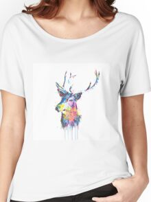 Cool awesome deer head colorful vibrant watercolors  Women's Relaxed Fit T-Shirt