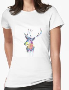 Cool awesome deer head colorful vibrant watercolors  Womens Fitted T-Shirt