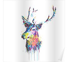 Cool awesome deer head colorful vibrant watercolors  Poster