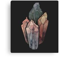 Dark Watercolor Crystals Canvas Print