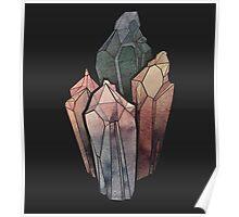 Dark Watercolor Crystals Poster