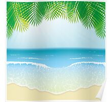 Beach, Sea Waves and Palm Leaves Poster