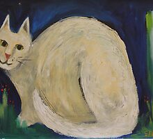White Cat in a Midnight Garden by Saren Dobkins