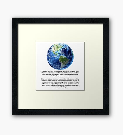 Piece of Pale Blue Dot Quote  Framed Print