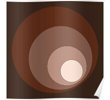 Retro Circles Brown Rust Taupe Cream Poster