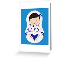 Blue  Babushka Greeting Card