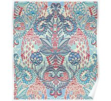 Botanical Geometry - nature pattern in red, blue & cream Poster