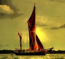 The Sailing Barge Thalatta on the Blackwater by Dennis Melling