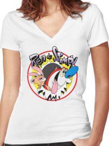 Ren & Stimpy Women's Fitted V-Neck T-Shirt