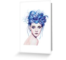 Blue Haired Girl Greeting Card