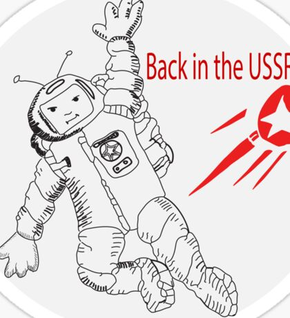 Space poster. Cosmonaut in space suit and  sputnik. Sticker