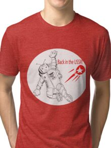 Space poster. Cosmonaut in space suit and  sputnik. Tri-blend T-Shirt